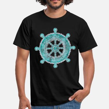 Jainism Dharma Wheel - Dharmachakra Silver and turquoise - Men's T-Shirt