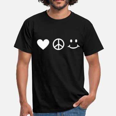 Peacetegn BE HAPPY - Love Peace Happiness Peacetegn  - Herre-T-shirt