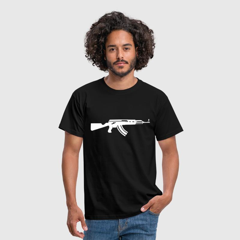 ak47 outline vector of the famous assault rifle - Camiseta hombre
