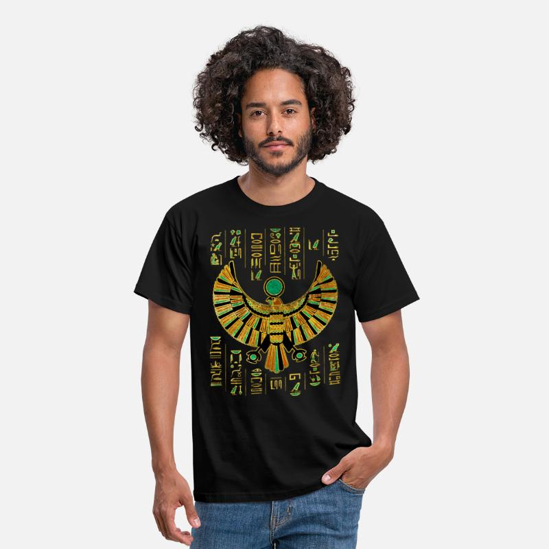 Falcon T-Shirts - Egyptian Horus Falcon gold and color crystal - Men's T-Shirt black