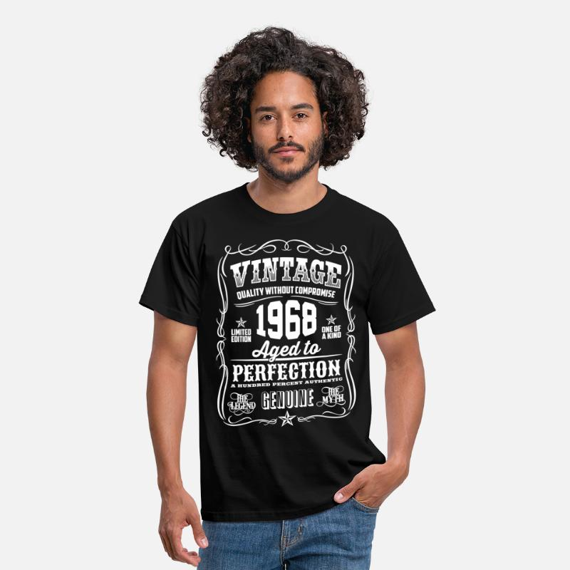 Birthday T-Shirts - 1968 Aged to Perfection White print - Men's T-Shirt black