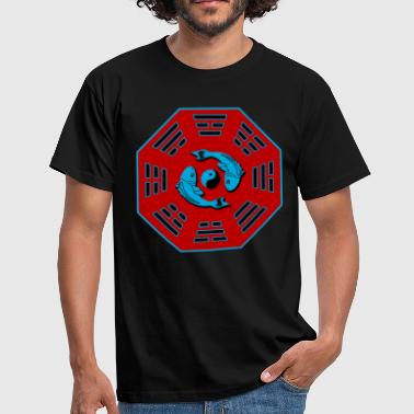 Pair of Koi Fish in Bagua with Yin Yang symbol - Men's T-Shirt