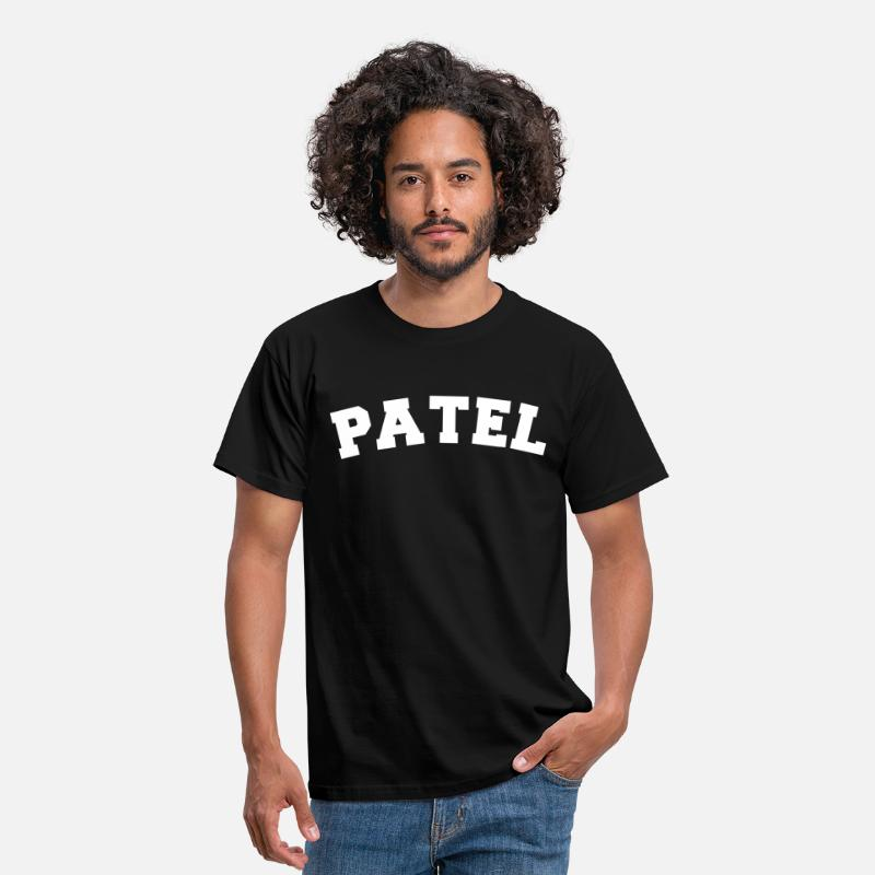 Patel T-Shirts - patel name surname sports jersey curved - Men's T-Shirt black