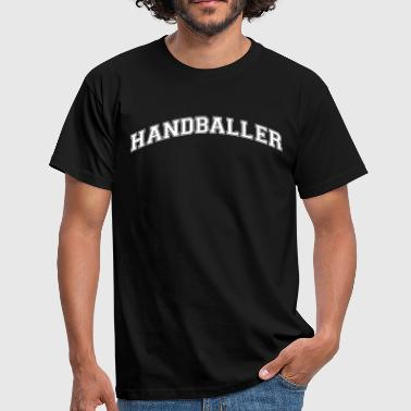 Handball Logo handballer college style curved logo - Men's T-Shirt