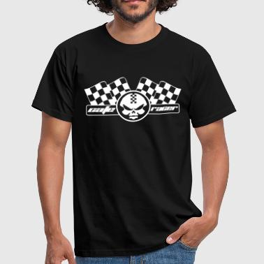 Checkered Flag Moto racer coffee and checkered racing flag - Men's T-Shirt