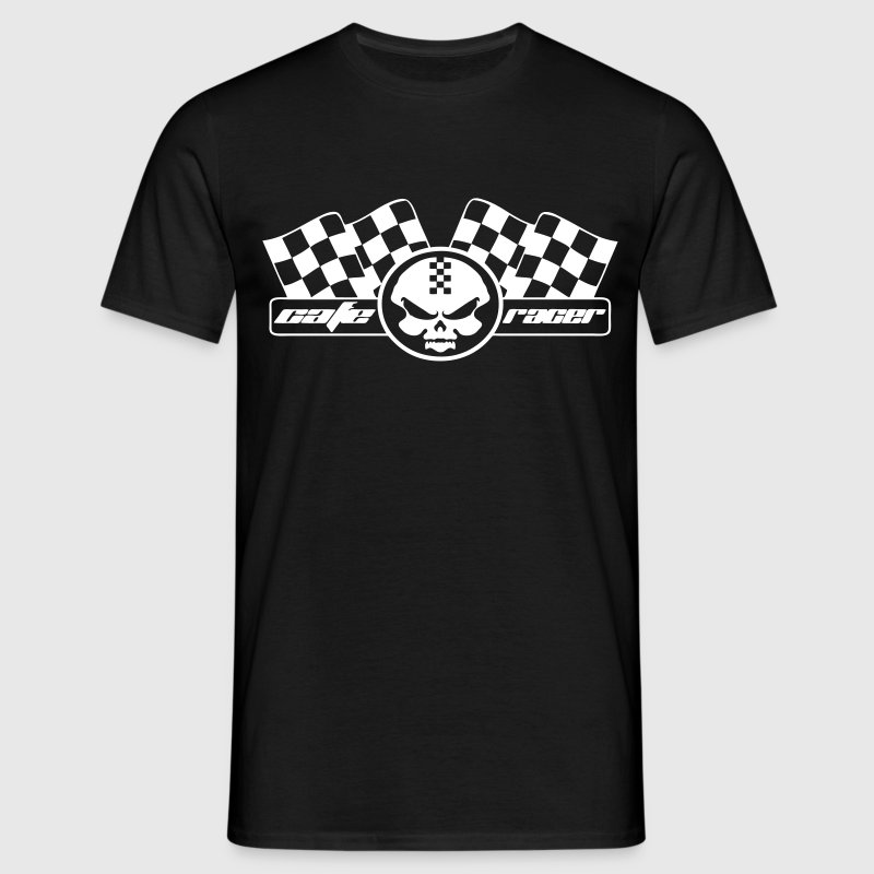 Moto racer coffee and checkered racing flag - Men's T-Shirt