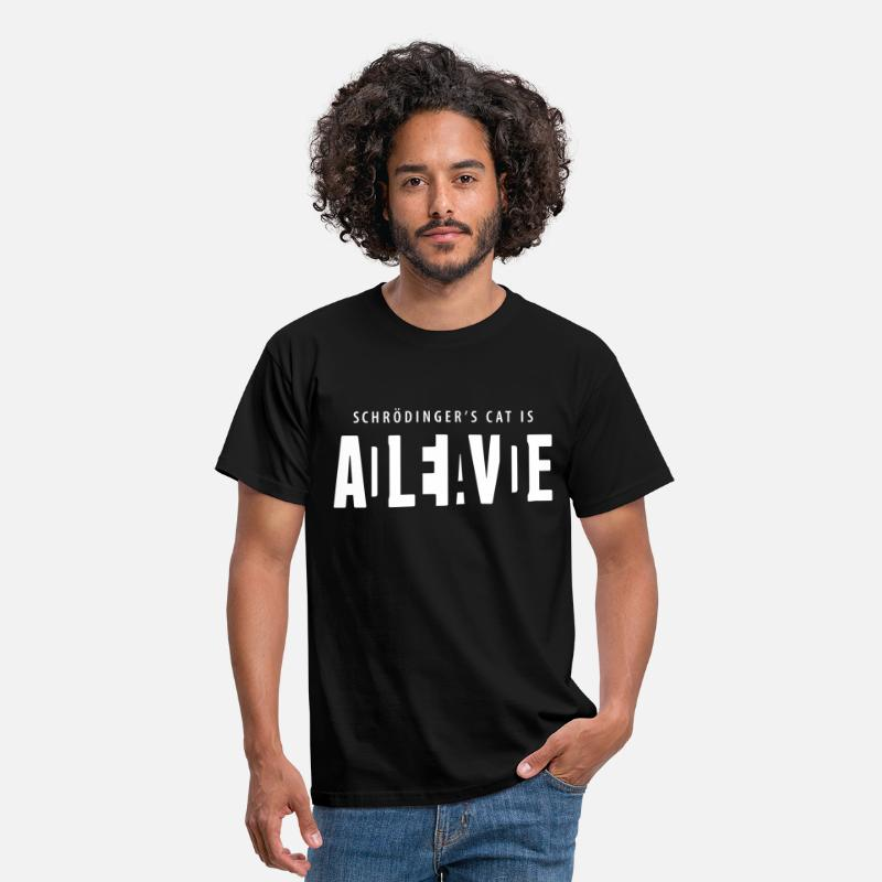Science T-Shirts - Shcrödinger's cat is dead alive - Men's T-Shirt black