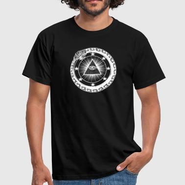Pyramid Oroboros snake illuminati pyramid with eye - Men's T-Shirt