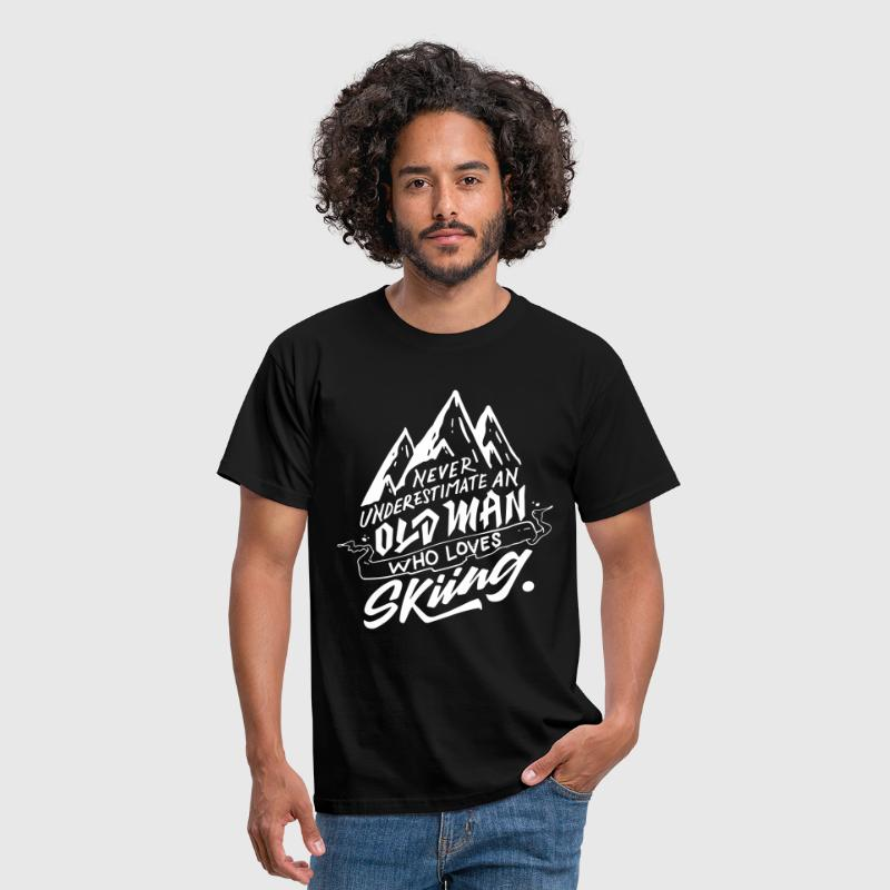 Typography Design - ...Old Man Who Loves Skiing - Men's T-Shirt