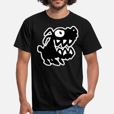 Mad Dog Bow Wow! Black Cartoon Dog by Cheerful Madness!! - Men's T-Shirt