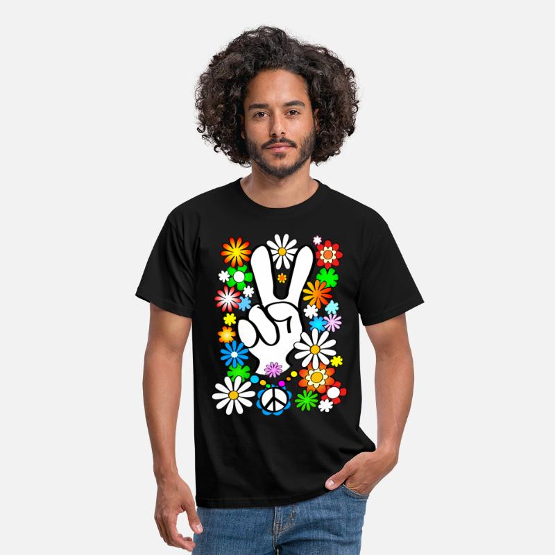 Flower Power T-Shirts - Flower Power (NL) - Mannen T-shirt zwart