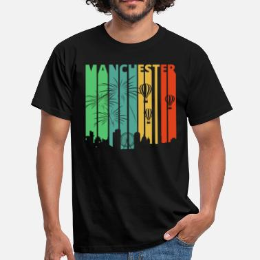 Groupe Vintage Retro Manchester Skyline.Cityscape.England - T-shirt Homme