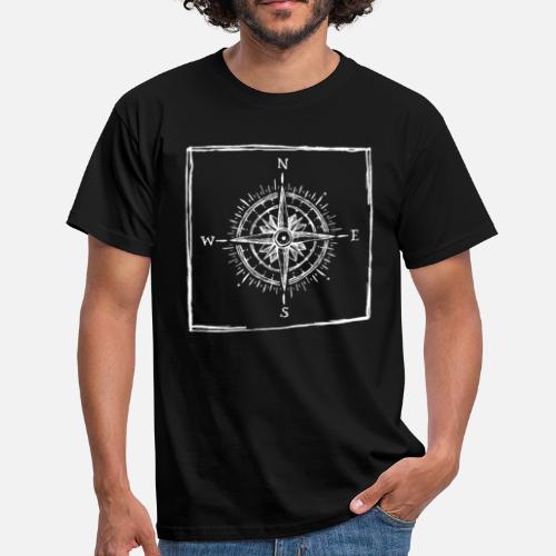 Brújula - Boceto - Dibujo - Direcciones cardinales Camiseta hombre ... 1aea1c89b898a