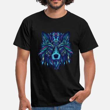 Predator Animal Wolf mandala predator cartoon predator animals - Men's T-Shirt