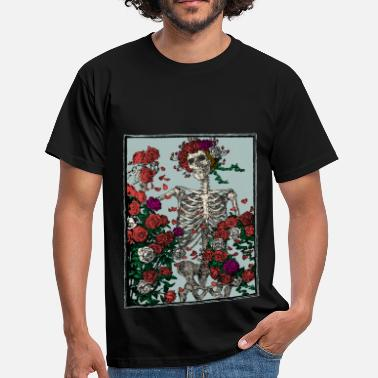 Skeleton and roses - Mannen T-shirt