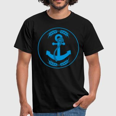 emblem circle shield round anchored anchor throw par - Men's T-Shirt