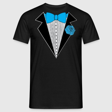 Tuxedo style with Blue Bowtie & Rose - Men's T-Shirt