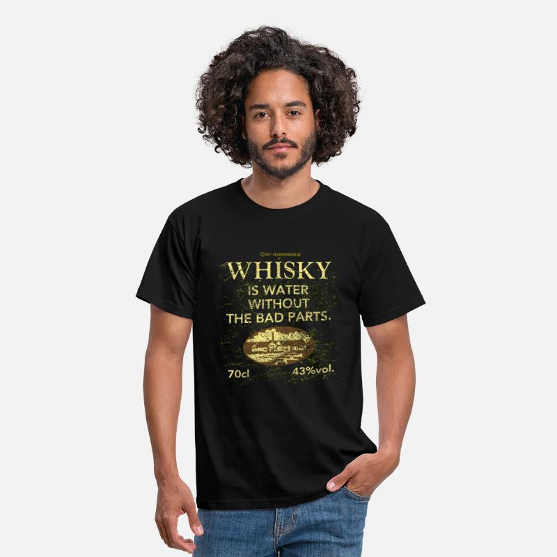 Funny T-Shirts - Whisky is Water - Men's T-Shirt black