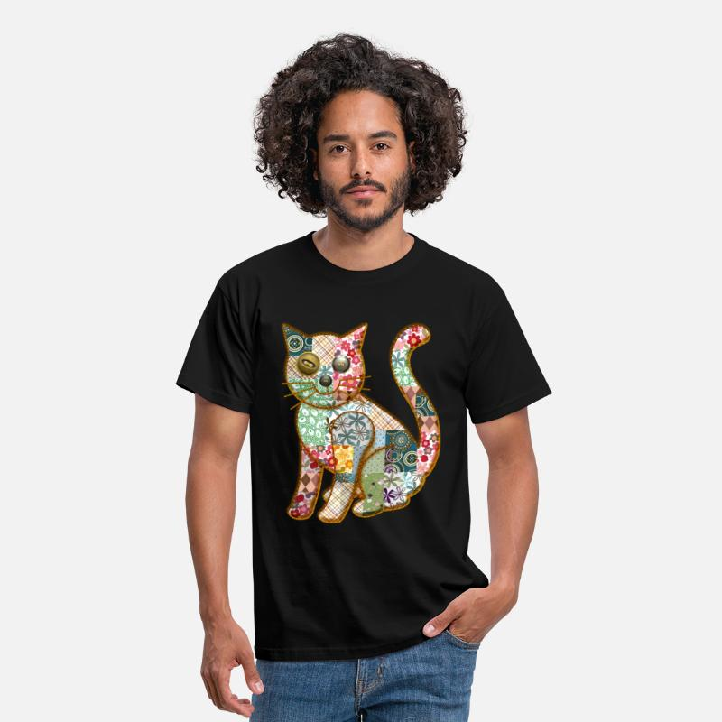 Tday2015 T-Shirts - PATCHWORK CAT - Men's T-Shirt black