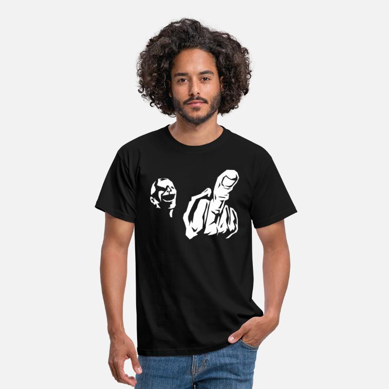 Fuck T-Shirts - Middle finger grimace  - Men's T-Shirt black