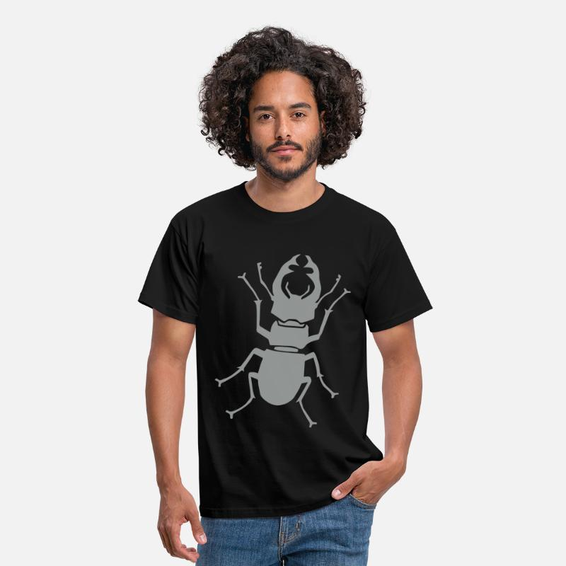 Beetle T-shirts - stag beetle antler antlers horn horns insect - T-shirt Homme noir