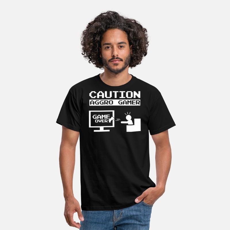 Gamer T-Shirts - Caution Aggro Gamer - Game Over - Men's T-Shirt black