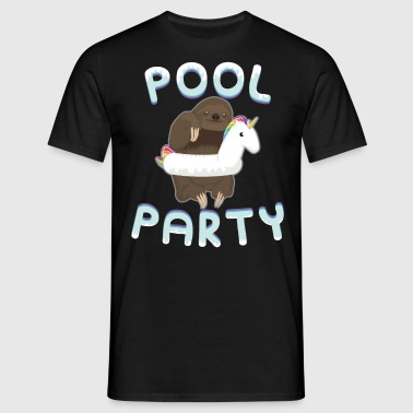 Sloth in Unicorn Swimming Animal - Pool Party Shirt - Men's T-Shirt