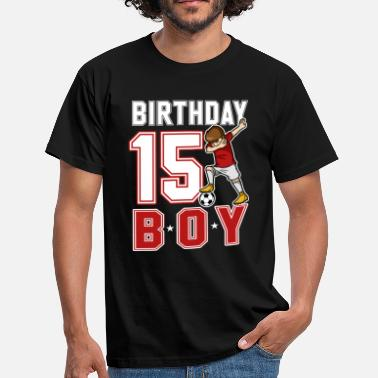 15th Födelsedag 15 år gammal Dabbing Soccer Player 15th BDay - T-shirt herr