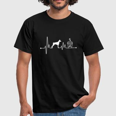Heartbeat EKG Pulse Doberman Coffee Lover - Mannen T-shirt