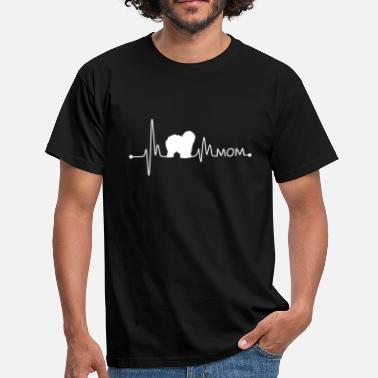 Mum To Be Heartbeat Pulse Line Old English Sheepdog Mom Dog - Men's T-Shirt