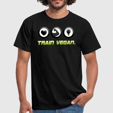 Train Vegan. Heart - Biceps - Brains - Männer T-Shirt