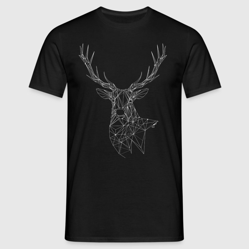 Deer with magnificent antlers of fine lines - Men's T-Shirt