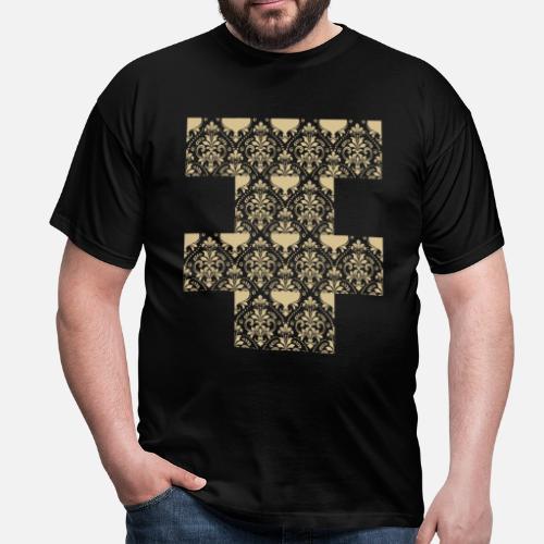 cf1849bb856fca Damast Tapete Muster Männer T-Shirt