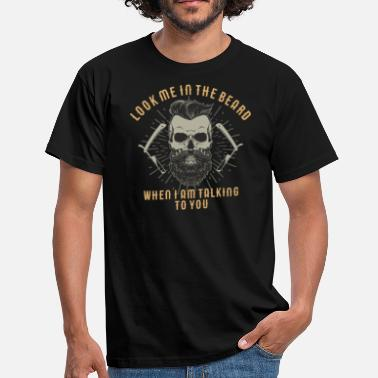 Rockabilly Style Biker Shirt Hipster Skull Look me in the beard Style Design - Männer T-Shirt