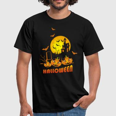 Wolfpack Halloween castle with pumpkins - Men's T-Shirt