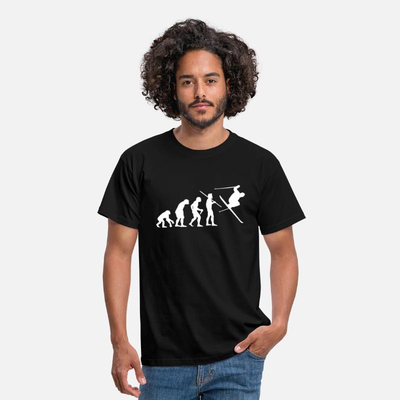 Ski T-Shirts - Evolution of Man - Skier #1 - Men's T-Shirt black
