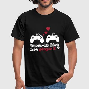 Player 2,geek,gamer,gaming,couple,saint Valentin - T-shirt Homme