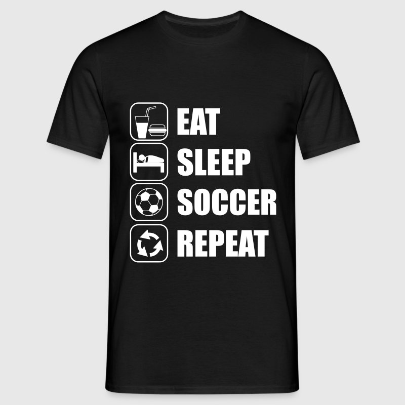 Eat Sleep Soccer Repeat - T-skjorte for menn