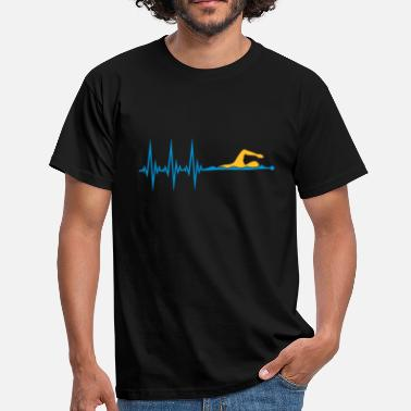 Pulse line frequency heartbeat pulse swim swimmer - Men's T-Shirt