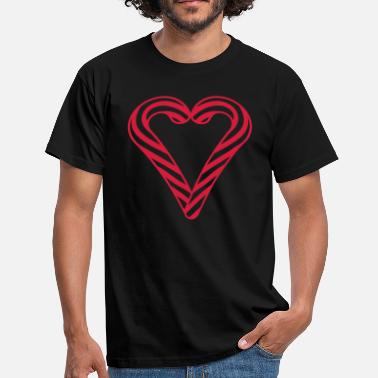 Shapes love heart in love shape candy cane delicious sweet - Men's T-Shirt