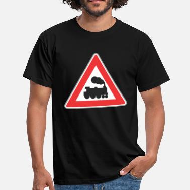 Road Train Road sign train with smoke - Men's T-Shirt