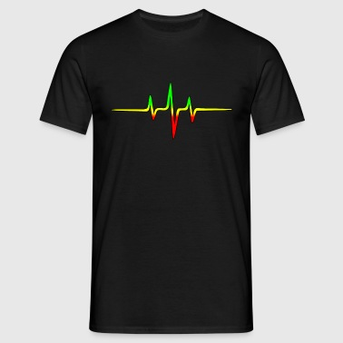 Reggae, music, notes, pulse, frequency, Rastafari - Camiseta hombre