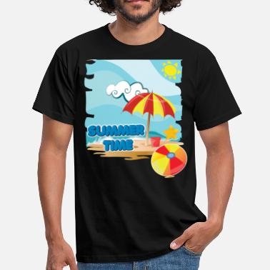 Beach Umbrella Summer time on the beach with umbrella on vacation - Men's T-Shirt