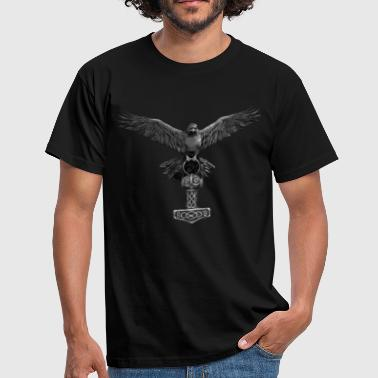 Odin Raven Thor Hammer Mjölnir with Odin Ravens Hugin and Munin - Men's T-Shirt