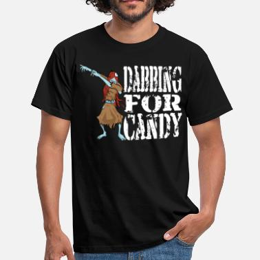 Funny Halloween Zombie Girl Dabbing For Candy. Trick or Treat Candy Lover Gift - Men's T-Shirt