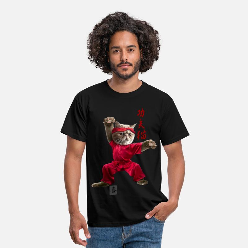 Kung Fu T-Shirts - KUNGFU CAT - Men's T-Shirt black