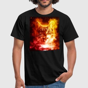 Sol Ansigt Cat In Space Shirt Galaxy Trippy Kosmisk Retro Killing T Shirt - Herre-T-shirt