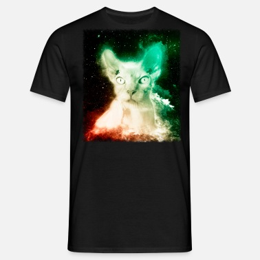 Sun Face Hairless Cat Shirt Retro Sphynx Cat Space T Shirt - Men's T-Shirt