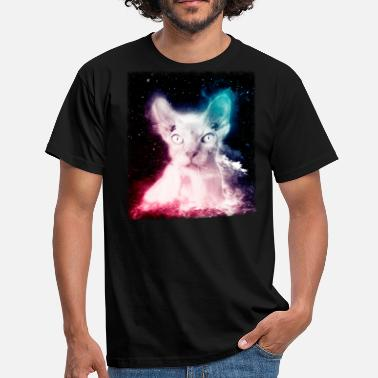 Outerspace Hairless Cat Shirt Trippy Space Sphynx Cat T Shirt - Men's T-Shirt