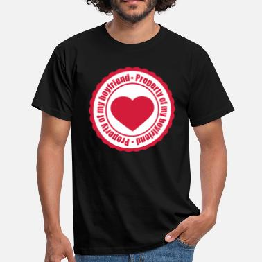 Gal round red circle stamp heart Property of my boyfrie - Men's T-Shirt